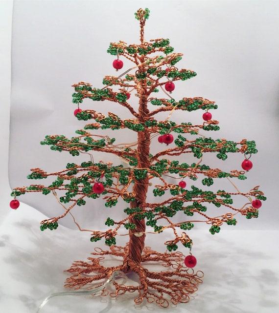 Wire Christmas Tree.Wire Christmas Tree Sculpture Tree Sculpture Evergreen Tree Fir Tree Connifer Tree Wire Tree Beaded Tree Tree Sculpture Wire Art