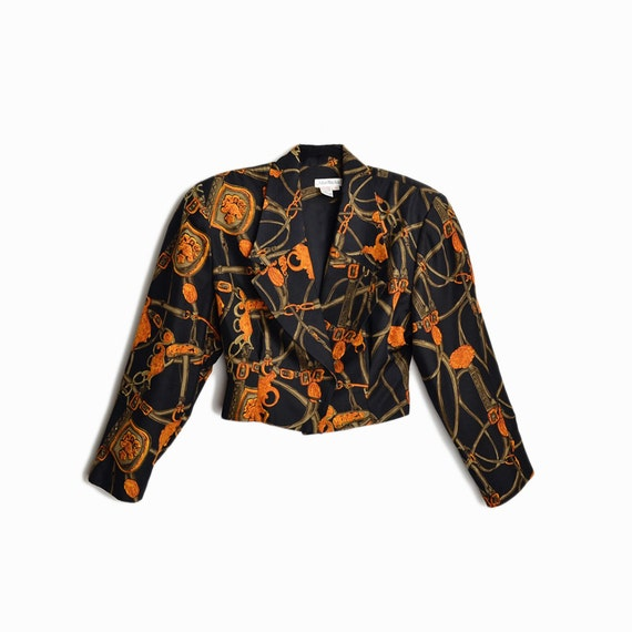 Vintage 80s Cropped Silk Jacket with Power Shoulde
