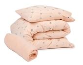 Baby girl bedding set, 3 Piece plush soft bedding set in peach pink, Subtle modern starts print, Fitted sheet, Duvet cover & Pillow case