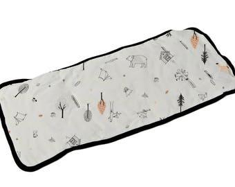 Universal Stroller Liner, Stroller Pad, Universal Pram Liner, Stroller Seat Liner, Soft Cotton Jersey, Gray with Boho Woodland Print