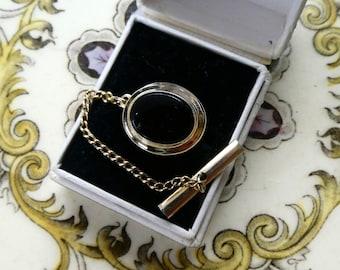 3d1e865953c0 Vintage Black Onyx Gilt Tie Tack, Pin, Clip, Great Cond. An Elegant  Classic! Men's accessories