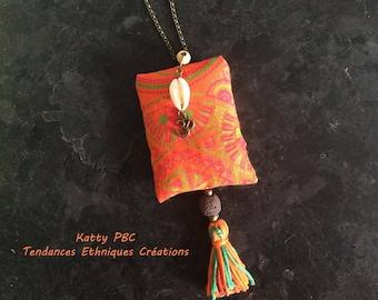 """Necklace Zen ethnic fabric """" Alhadita """""""