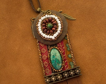 "Ethnic pendant necklace ""Dezba"""