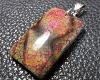 Splendid Multicolored Veined Fire Agate Marquise /& Plated Silver Pendant