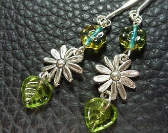 Elegant Olivine Green & Blue Czech Glass Leaf  Flower Plated Silver Earrings