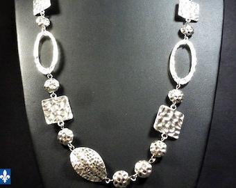 Stunning Unique Designer Hammered Plated Silver Necklace