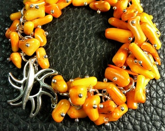 Sunny Yellow Orange Natural Coral Plated Silver Sirene Clasp Bracelet