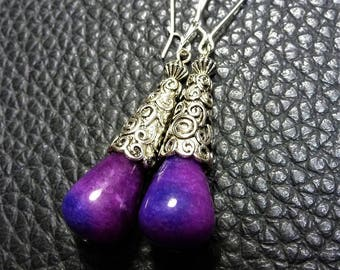 Adorable Purple Plum Agate& Silver Plated Earrings