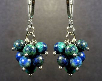 Nice Pyrite in Lapis Lazuli Chrysocolla Stone Silver Plated Cluster Earrings