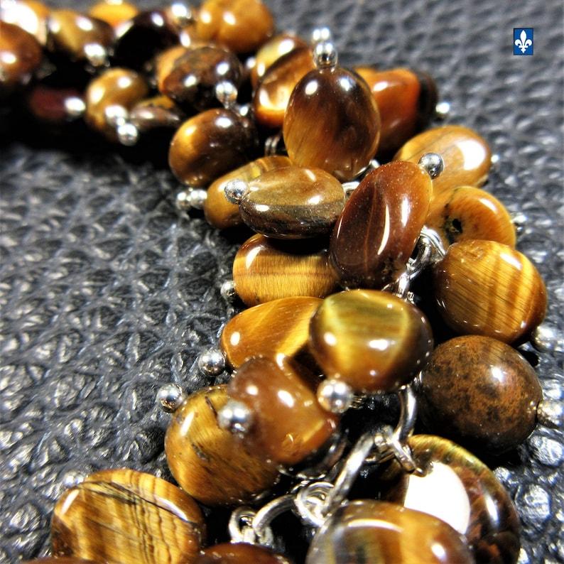 Wonderful Natural Tiger/'s Eye /& Plated Silver Bracelet