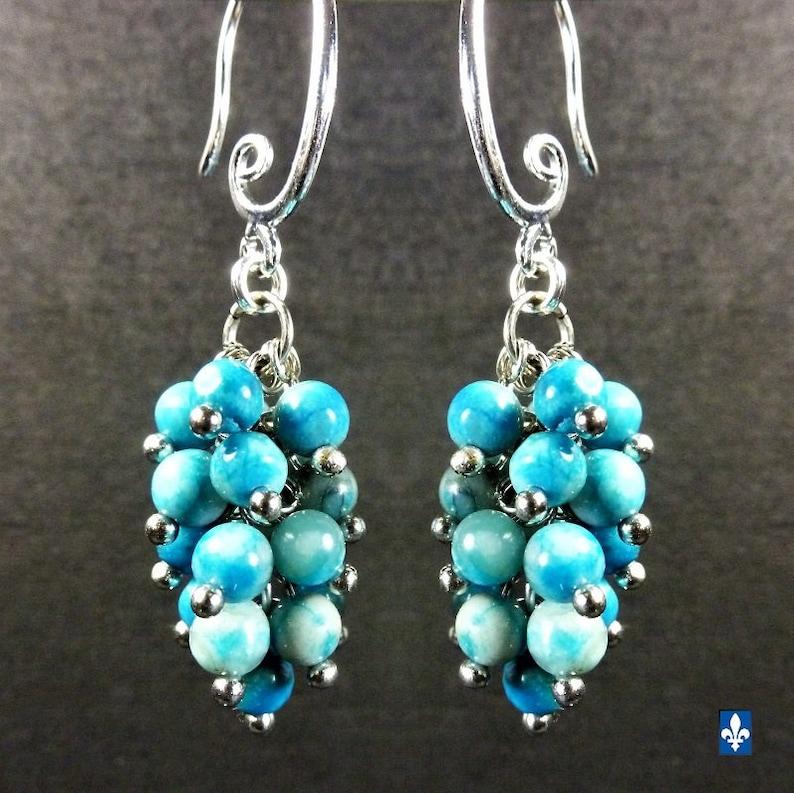 Lovely Ocean Blue Agate Cluster Plated Silver Earrings