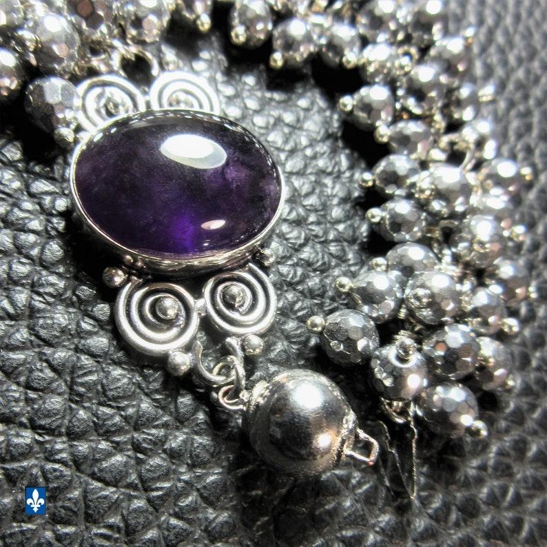 Fantastic Amethyst /& Facetted Hematite .925 Plated Silver Bracelet