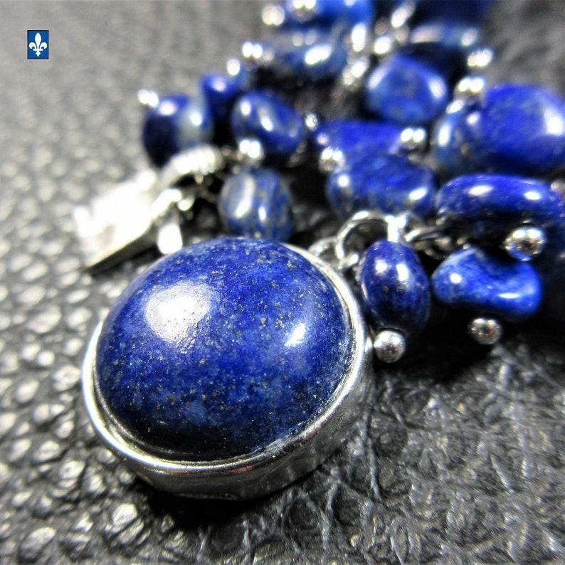Splendid All Blue  Lapis Lazuli /& Plated Silver Bracelet
