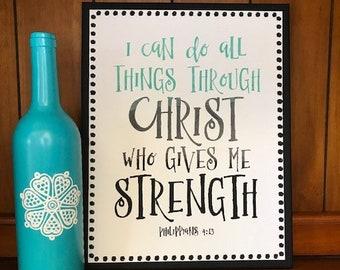 Customized Philippians 4:13 Christian Bible Verse Wall Decor