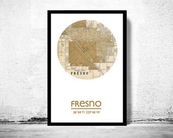 FRESNO - city poster - city map poster print  | Vintage Poster Wall Art Print |