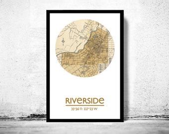 RIVERSIDE - city poster - city map poster print    Vintage Poster Wall Art Print  