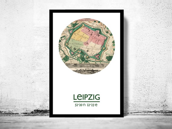 Leipzig City Poster City Map Poster Print Vintage Etsy