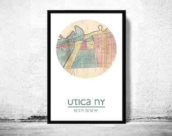UTICA NY - city poster - city map poster print  | Vintage Poster Wall Art Print |