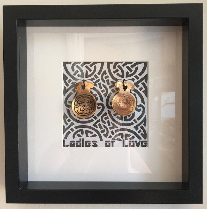 Ladles of Love Framed Art Etched Copper Celtic Spoons image 1