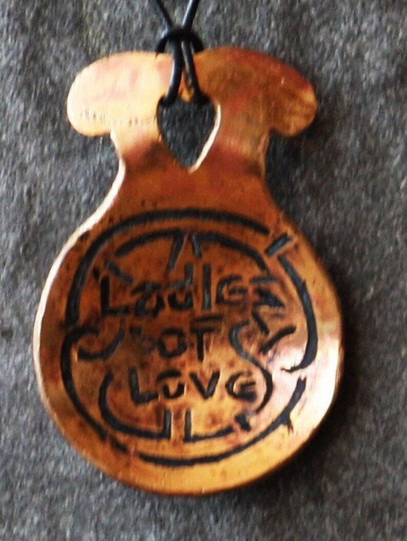 Love Spoon Handmade Copper Antiqued Art Etched image 1