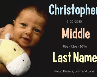 Large Name Photo Birth Announcement