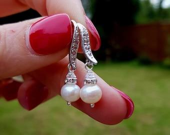 Freshwater Pearl drop Wedding Earrings Sterling Silver CZ diamante hook white ivory Pearl Earrings classic bridal Earrings wedding Jewellery