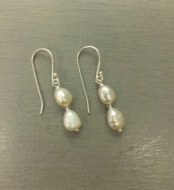 Tiny Baroque Pearl Drop Earrings Sterling Silver Stud