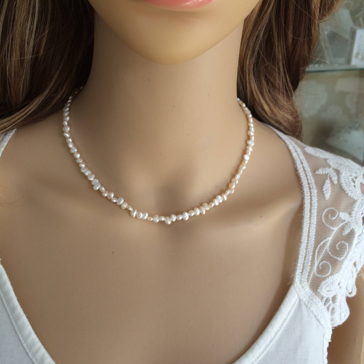 Tiny Freshwater Pearl Choker Necklace Simple Pearl Bridal