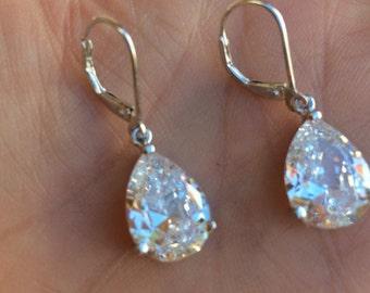 CZ Teardrop bride earrings classic Sterling Silver leverback earrings faux diamond drop earrings Cubic Zirconia wedding jewelry jewellery