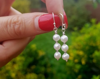 Small Freshwater Pearl drop earrings Sterling Silver / Gold Fill white pearl bridal earrings simple pearl wedding jewellery bridesmaid gifts