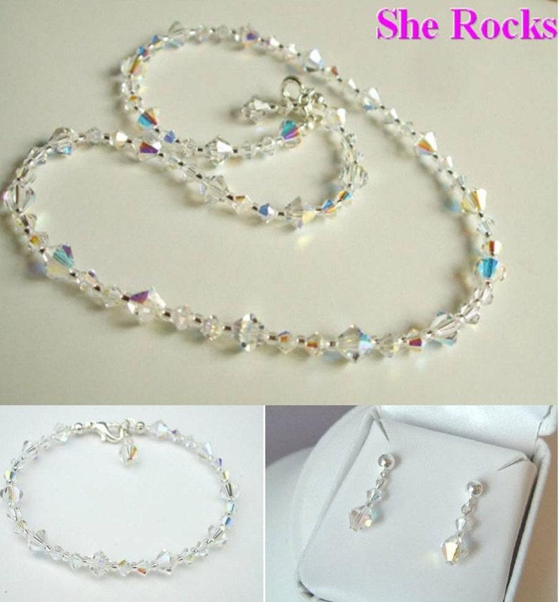 620bd2a460 AB Swarovski crystal bridal jewellery set Sterling Silver   Etsy