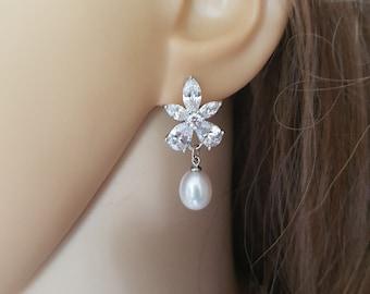 Bride CZ diamond and pearl drop earrings ZIRCON flower studs pearl drop wedding earrings and Freshwater pearl earrings bridal jewellery gift