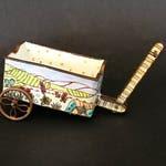 Vintage MINIATURE Enamel GARDEN CART ,Whimsical Flower Garden Scene,Hand Painted,Colorful Enamel on Copper,Miniature Enamel Cloisonne Cart