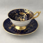 Tea Cup and Saucer, COALPORT China, ENGLISH Bone CHINA, Cairo Gold on Cobalt, Navy Gold, Gift for Her, Collectible China, Birds, Butterflies