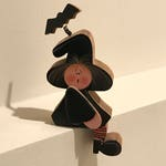Vintage Halloween Decor, Witch Shelf Sitter, Small Wood Witch, Wooden Witch, Black & Orange, Halloween Witch,Black Bat Hat, Halloween Figure