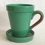 Pottery MUG PLANTER, Glazed Pottery Planter, Pottery Planter, 2 Piece Planter, Green Plant Pot, Succulent Planter, Handled Plant Pot
