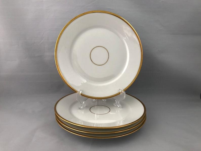 Set of 4 ANTIQUE LIMOGES Salad Dessert Plates 1894-1931 White image 0