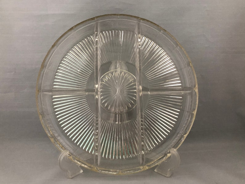 Heavy Pressed Glass PLATTER DIVIDED Serving Dish Mid Century image 0