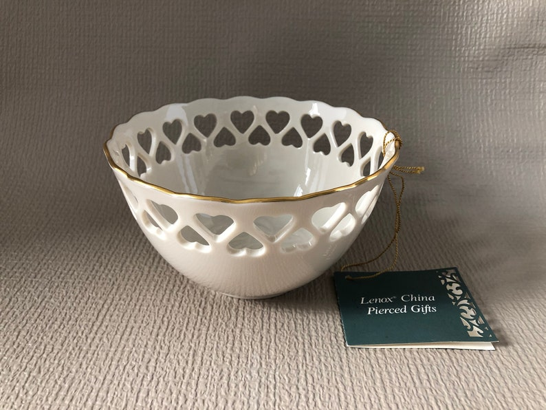 LENOX Ivory China Bowl Cut Out Pierced Reticulted Hearts Gold image 0