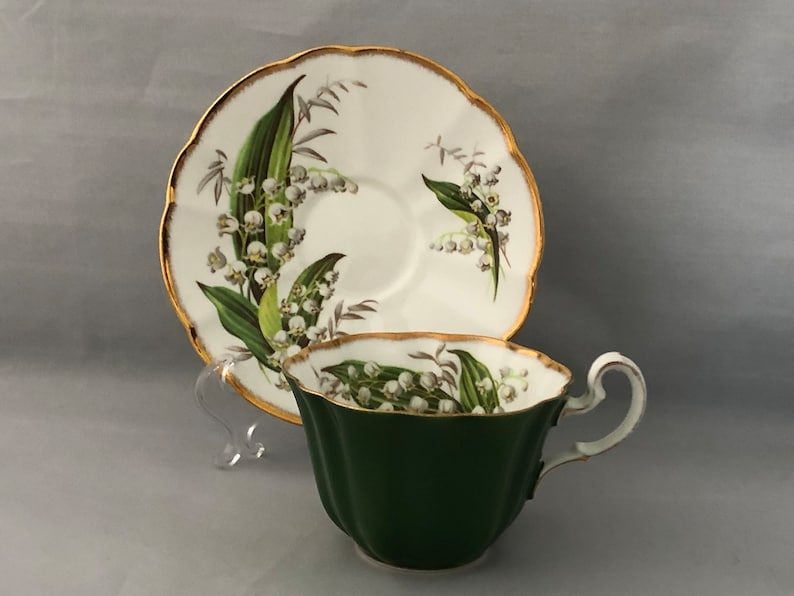ENGLISH Bone China Tea CUP and SAUCER Lily of the Valley image 0