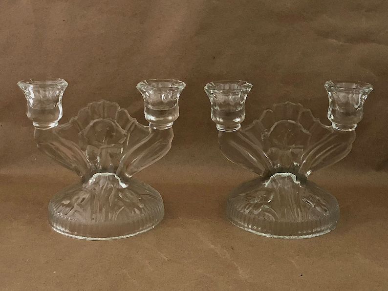 Pair Vintage DOUBLE CANDLESTICKS Jeanette Glass Co. Iris & image 0