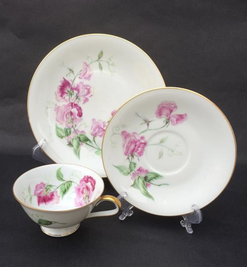 CHINA TEA Trio 3 Piece Tea Set Tea Cup Saucer Plate Sweet image 0