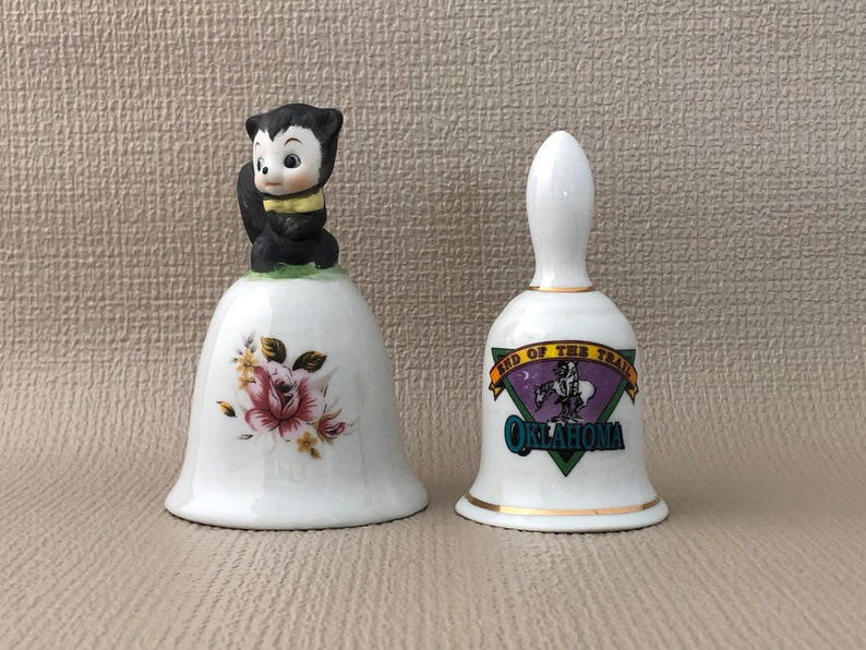 Pair of CHINA BELLS Glazed China Bell Floral Bell Bisque image 0