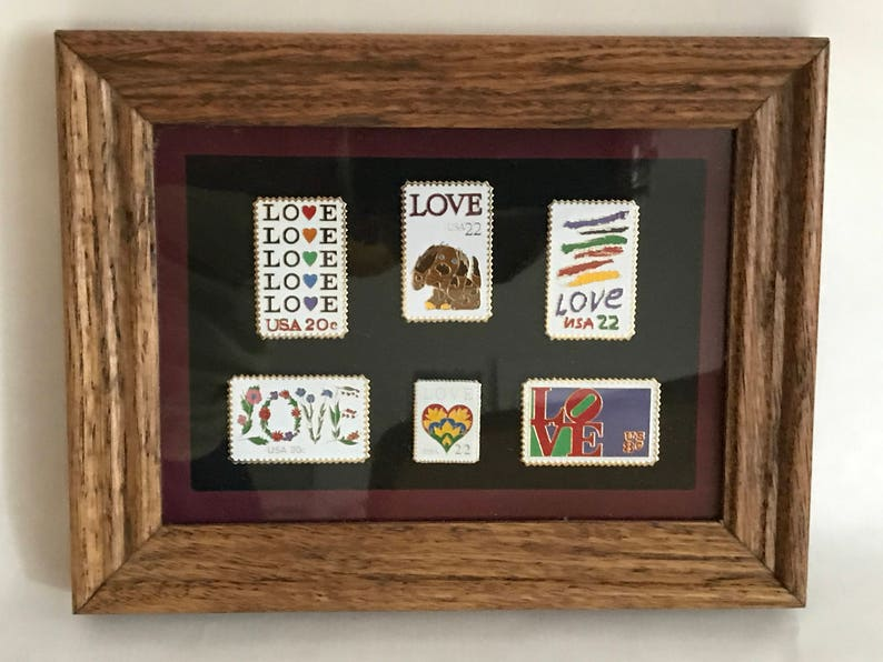 USPS Love Stamp Pins Framed Matted Stamps Stamp Replicas 6 image 0