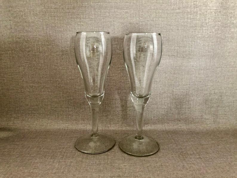 Pair Vintage Flutes Champagne/Wine Toasting Stems image 0