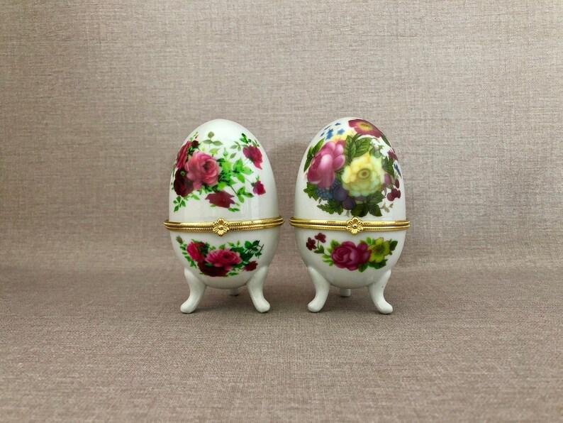 Egg TRINKET BOXES Hinged China Porcelain Eggs Footed China image 0