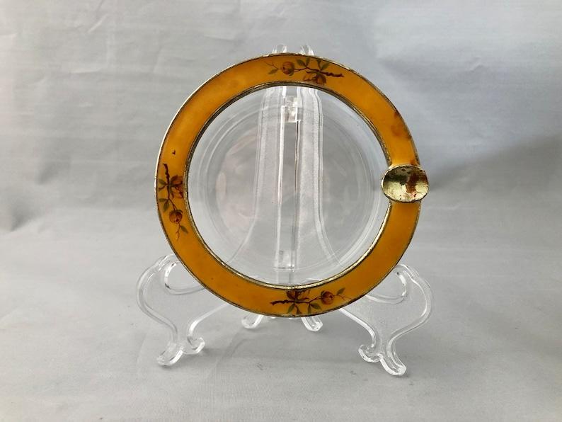 Heavy Round Glass ASHTRAY Enameled Metal Frame Brass Tone image 0