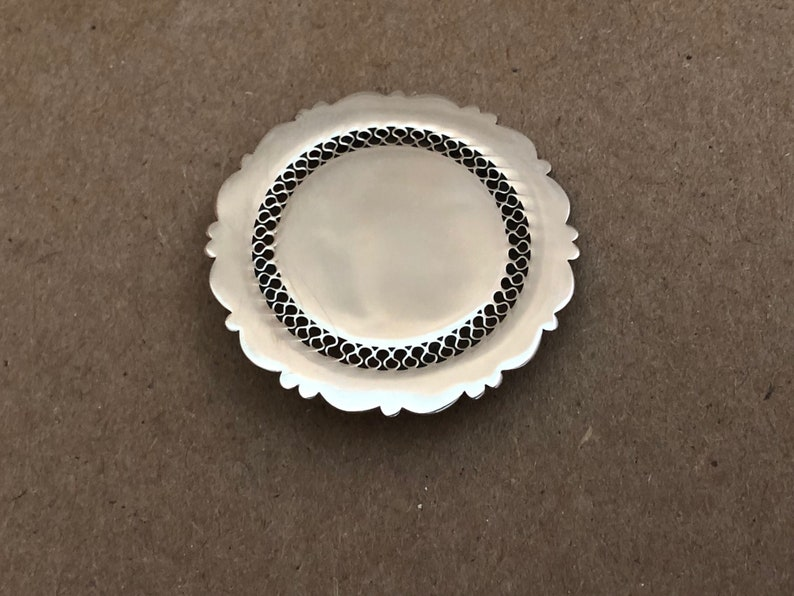 Sterling Silver ROUND Pin BROOCH Vintage Beau Sterling image 0