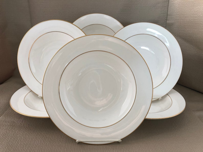 St Andrews Soup Bowls Set of 6 Wide Rimmed China Signature image 0