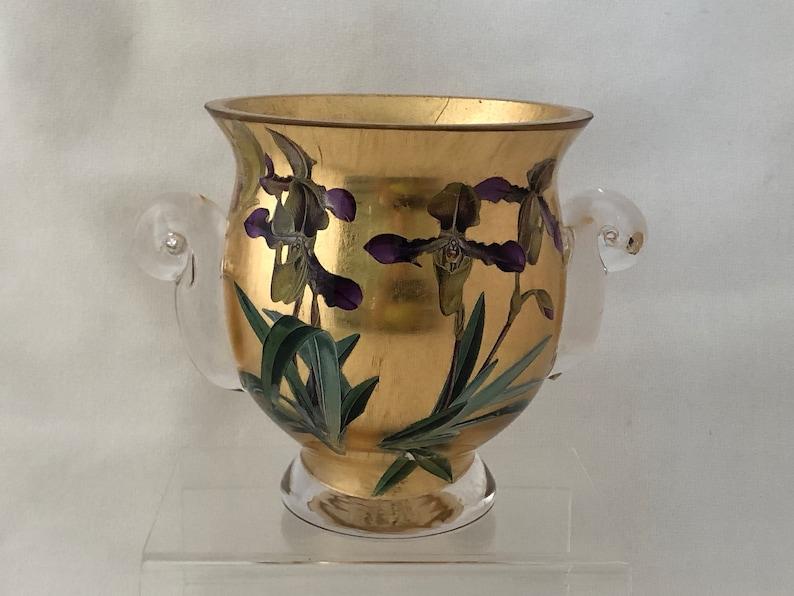 Artist Signed GLASS Gilded Pot Nouveau InspiredIris Design image 0